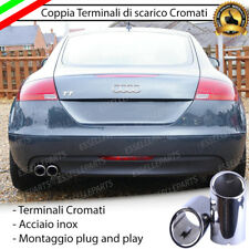 COPPIA TERMINALE SCARICO CROMATO LUCIDO ACCAIO INOX AUDI TT 8J ROTONDI