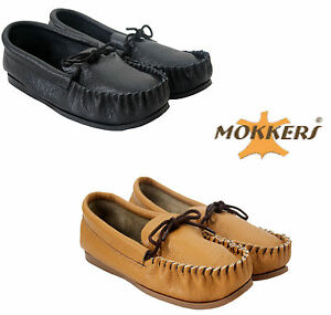 NEW MENS BOYS REAL LEATHER MOCCASINS FLAT MADE IN UK COMFORT MOCC SLIPPERS SHOES