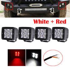 4x 3inch 24W LED Work Light Spot Cube Pods Fog Bumper Backup Offroad Red + White