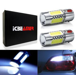 COB LED 1156 Plasma 50 Ohm resistor White Front Turn Signal Light Bulb G175