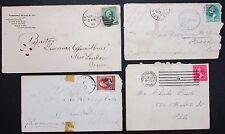 4 Old US Postage Cover Fancy Cancel Duplex Stamp 2c 3c Amerika Briefe (Lot-7302