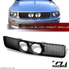 2005-2009 Mustang Gt Matte Black Mesh Front Bumper Grill Grille+Fog Lights Hole