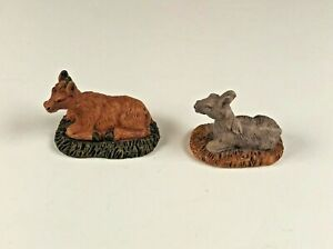 """Lemax Nativity Accessories """"Donkey & Cow"""" Christmas Village"""