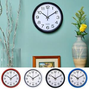 Round Wall Clock Simple Bedroom Kitchen Clocks Quartz Silent Sweep Movement Home