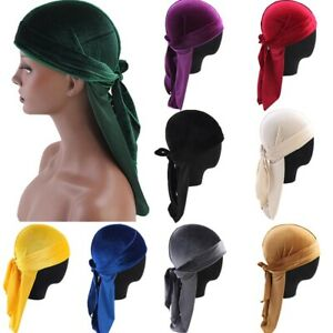 Men Women Unisex Bandana Hat Velvet Durag Head Wrap Long Tail Pirate Cap Turban