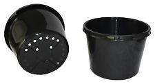 180mm Diameter Black Plastic UV Stabilized Garden Plant Squat Pot x 5