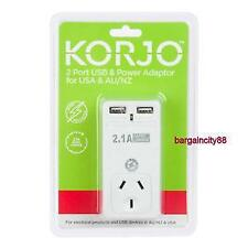 Korjo 2 Port USB Travel Adaptor For US From Australia New Zealand