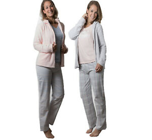 Ladies 3 Piece Supersoft Fleece Jacket Pyjama Set Nightwear Lounge, PJ's