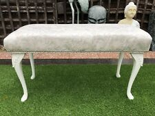 Oyster Cream Marble Effect Queen Anne Style White Window Seat Long Stool Bench