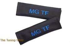 "2x Seat Belt Covers Pads Black Leather ""MG TF"" Blue Embroidery for MG TF"
