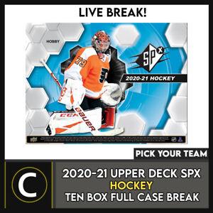 2020-21 UPPER DECK SPX HOCKEY 10 BOX (FULL CASE) BREAK #H1204 - PICK YOUR TEAM -