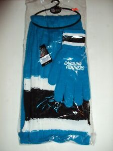 CAROLINA PANTHERS NFL Unisex Winter Knit Scarf and Glove Holiday Gift Set NEW