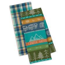 New listing Set 2 Nwt Dii 100% Cotton Happy Camper Plaid Kitchen Towel Travel Trailer Camper