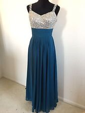 sequined top shoulder strap Teal chiffon prom Bridesmaid dress gown Sz PS