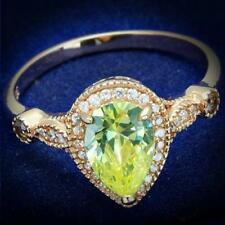 Ladies pear ring rose gold apple green light peridot sterling silver 2.60c 538