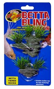 Zoo Med Betta Bling Tiered Rocks Green, Grey    Free Shipping