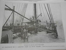 Gravure 1889 - Le naufrage de L'Anadyr dans la Rade d'Aden