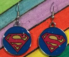 SUPERMAN Super Hero Earrings Surgical Hook New Justice League