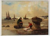 retour de pèche marine bord de mer par Doria, Bretagne Normandie ou Nord 19 eme