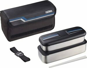 THERMOS Japan DSD-1104W Lunch Box Stainless Steel Bento Heat Preservation w/Bag
