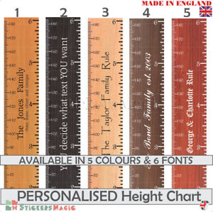 PERSONALISED Height Chart Wall Sticker Giant Wooden Ruler House Warming Present