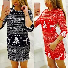 Womens Autumn Winter Long Sleeve Xmas Pattern Party Clubwear Mini Dress Costume