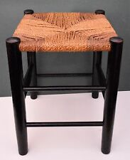 "ANTIQUE ENGLISH  STOOL FOOTSTOOL  STRING ROPE SEAT 15"" TALL"