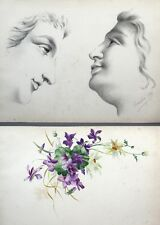Antique French Watercolor Flowers Pencil Drawing Study of Faces, Sketchbook 1894