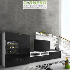 Parete attrezzata soggiorno BALI Gihome ® nero con cantinetta design innovativo