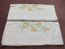 Collectible Pillowcase Set 2 Gold Lime Green Orange Floral 30 x 20 Nice