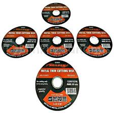"""5 ANGLE GRINDER DISCS FLAT 4.5"""" 115MM CUTTER THIN METAL STEEL CUTTING BLADE 12C"""