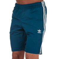 Mens adidas Originals 3 Stripe Swim Shorts In Blue- Elasticated Ribbed Waist