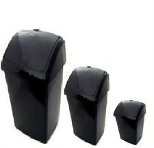 10L 30L 50L LITRE PLASTIC BLACK SWING BIN WASTE DUST BIN OFFICE KITCHEN LITTER