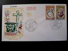 TCHAD 119+122  PREMIER JOUR  FDC     ARTS NEGRES , VASE    80+15F      1966