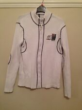 TEDDY SMITH LADIES WHITE RIBBED KNIT ZIP UP TOP / CARDIGAN / JACKET