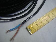 1,5 m fil gainé tissu noir méplat 2 brins câble électrique