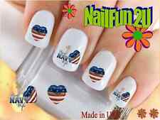 "Nail Art #573 MILITARY ""Navy Wife Heart Flag"" WaterSlide Nail Decals Transfers"