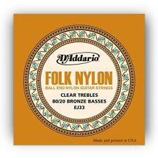 10 Pack! D'Addario EJ33 Folk Nylon Clear Trebles 80/20 Bronze Basses Ball End