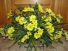 Yellow Daisies Cemetery Grave Tombstone Saddles Silk Memorial Headstone Flowers