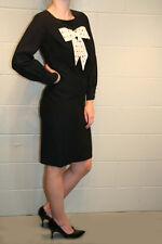 S Black Rayon Vtg 60s Tuck Pleated Polka Dot Bow Bobbie Brooks Secretary Dress