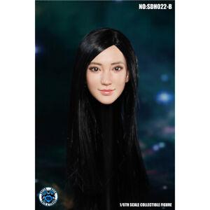 "SUPER DUCK SDH022B 1/6 Long Straight Hair Female Head Black for 12"" Figure Toys"