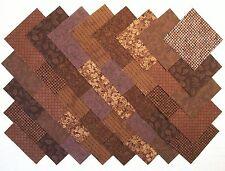 "BROWN 100% cotton Prewashed Calico 4"" Quilt Block Fabric Squares (#A/12D)"