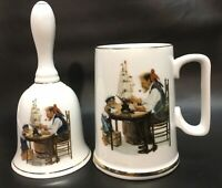 """Vintage, Norman Rockwell, Bell & Cup """"For A Good Boy"""" w/Gold Gilding, VGC+"""