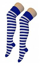 Ladies Football Striped Over The Knee High Thigh Referee Stripe Long Socks Black