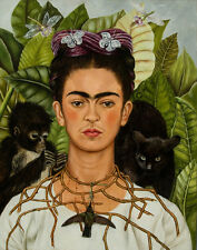 Kahlo Frida Self Portrait With Thorn Necklace And Hummingbird Canvas    #4707