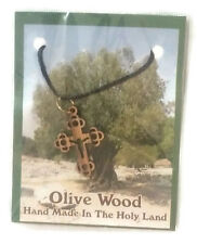 Olive Wood Cross Pendant Necklace Handmade With chain Holy Land Bethlehem