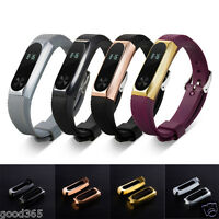 New Replacement Wristband Band Strap + Metal Case For Xiaomi Mi Band 2 Bracelet