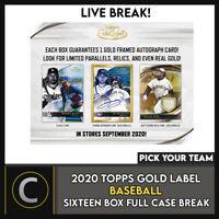 2020 TOPPS GOLD LABEL BASEBALL 16 BOX (FULL CASE) BREAK #A979 - PICK YOUR TEAM