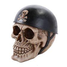 Human Skeleton Skull Head Wearing Motorcycle Biker Helmet Halloween Figurine