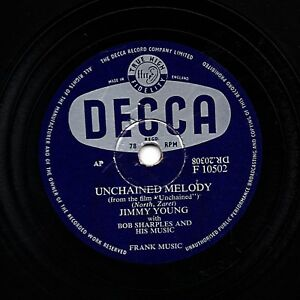 UK#1 1955 JIMMY YOUNG 78 UNCHAINED MELODY HELP ME FORGET UK DECCA F10502 E/E+